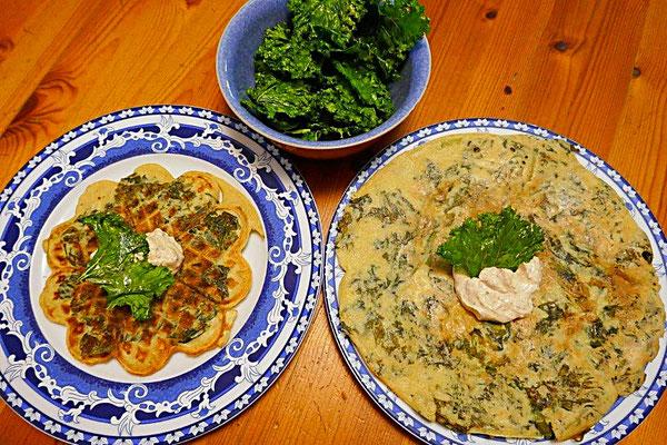 Grünkohlwaffeln und Grünkohleierkuchen