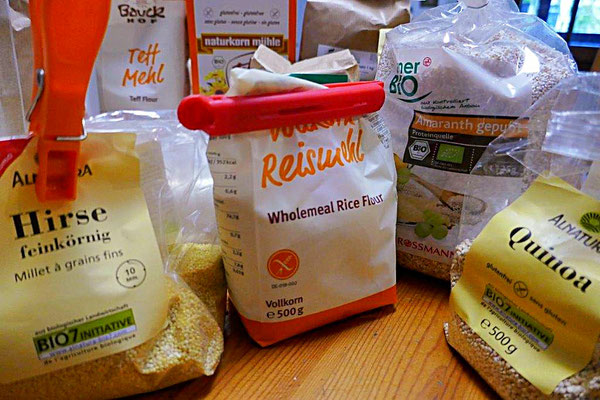 glutenfreie Mehle - Hirse, Teffmehl, Reismehl, Amaranth, Quinoa