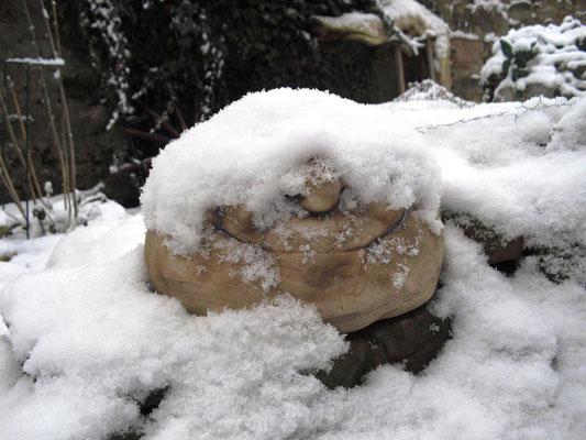 Schneebedeckter Steinkopf