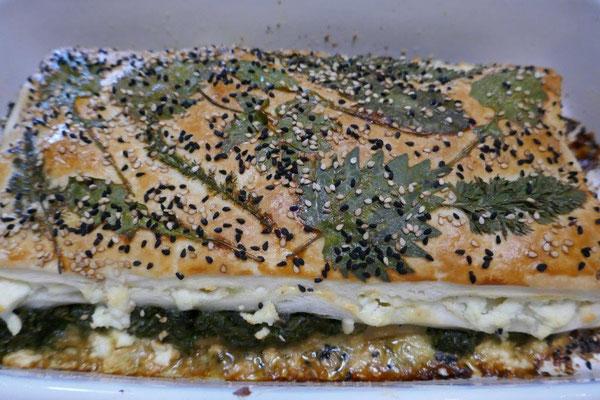 Blätterteigauflauf mit Spinat