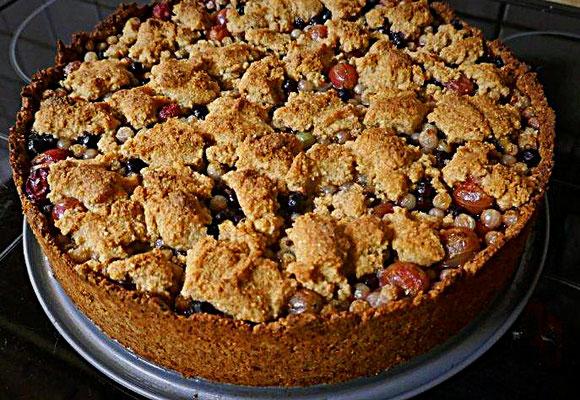 glutenfreier Beerenmixkuchen mit Mürbeteig und Streuseln