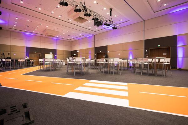 welcome-net Stuttgart, Full-Service-Agentur, Set-Up Tagung, Straße aus Teppichboden