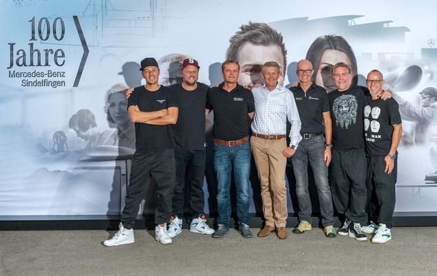 welcome-net Stuttgart, Eventmanagement, Die Fantastischen Vier mit Führungsteam Daimler, Fanta 4 bei der Jubiläumsveranstaltung Sindelfingen