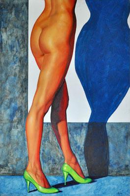 MICHAELA - GREEN SHOES // 80x120 cm // acrylic & oil on canvas