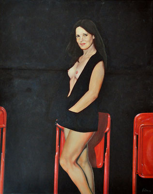NATASA DENIC WITH THREE RED CHAIRS // 80x100 // oil on canvas