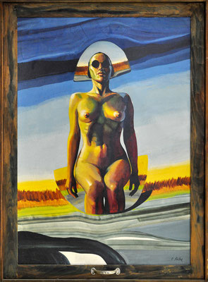 ROSI IN DESERT WINDOW // 82x112 cm // oil on masonite with wood frame