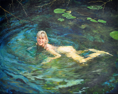 TINKA IN THE WORM RIVER // 140x110 cm //oil on canvas