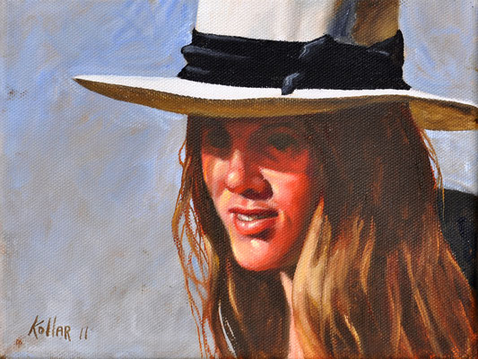 GIRL IN WHITE HAT // 24x18 cm // oil on canvas