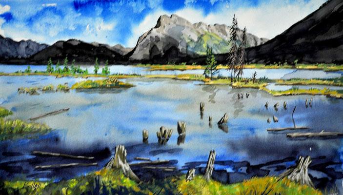 MOUNTAIN LAKE // 28x16 cm // watercolor