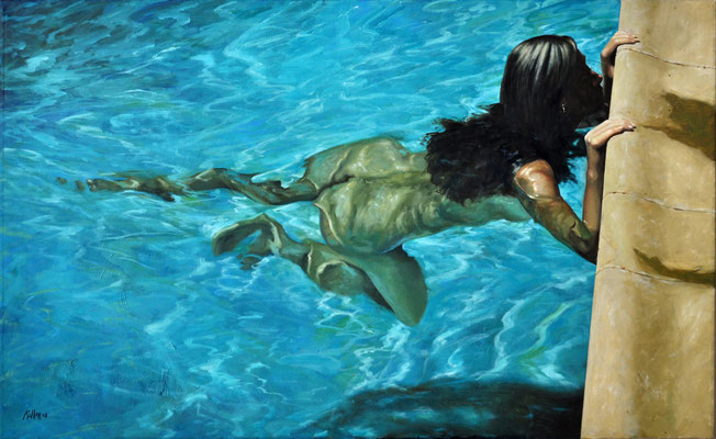 HELGA ON POOL EDGE // 135x82 cm // oil on canvas