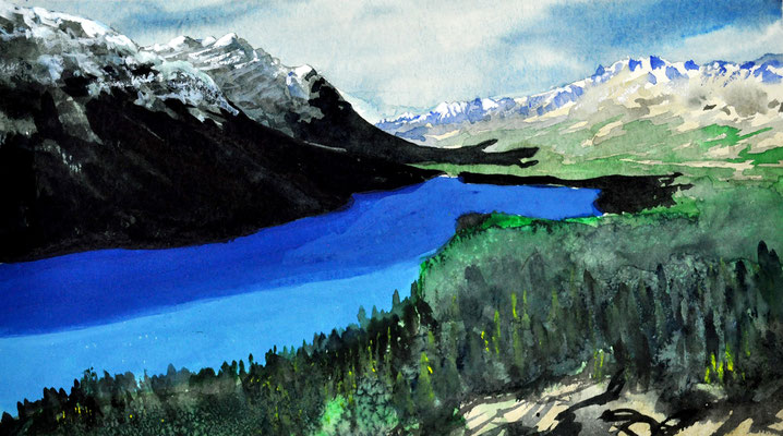 MOUNTAINS AND LAKE // 37,5x20 cm // watercolor