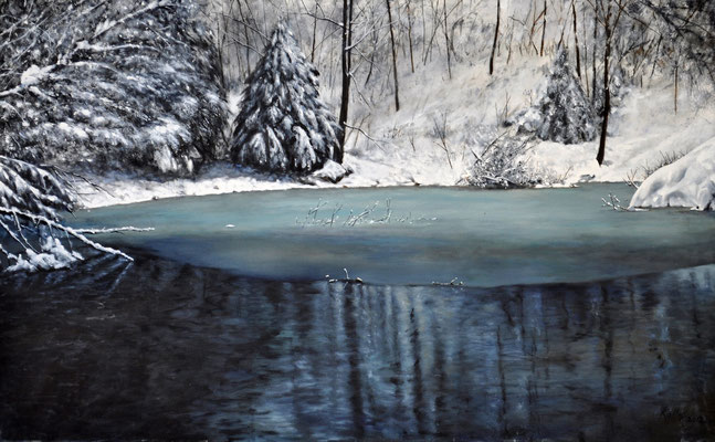 """""""POND IN MARIA THERESIA PARK"""" // 105x65 cm // oil on canvas"""