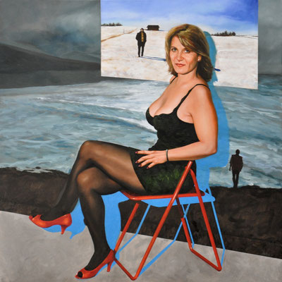 MICHAELA IN RED SHOES // 100x100 cm // oil on canvas