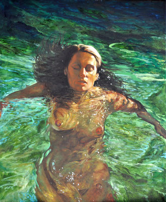 HELGA IN POOL // 90x110 cm // oil on canvas