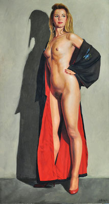MICHA WITH BLACK AND RED ROBE // 80x150 cm // oil on canvas