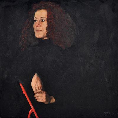 USCHI – HAIR DRESSER // 70x70 cm  // oil on canvas