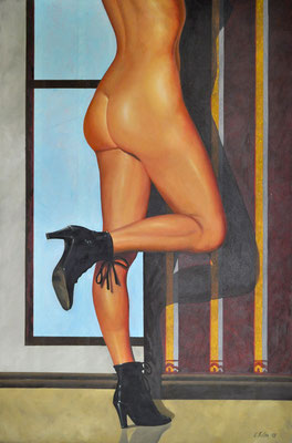 PATRICIA - BLACK SHOES // 80x120 cm // acrylic & oil on canvas