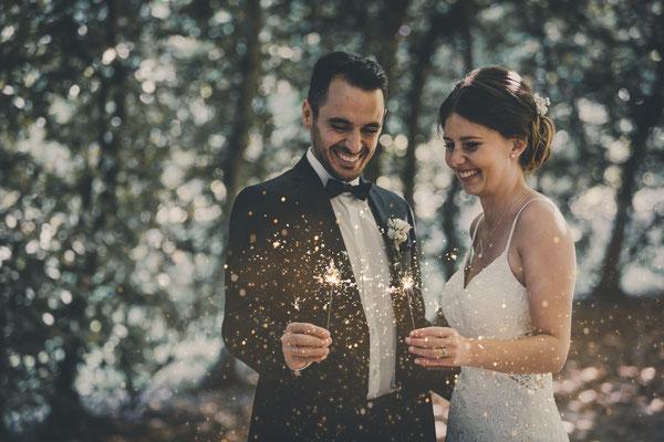 Hochzeitsfotos mit Wunderkerzen
