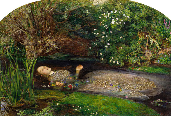"""Ophelia"" 1852 von John Everett Millais, London Tate Gallery"