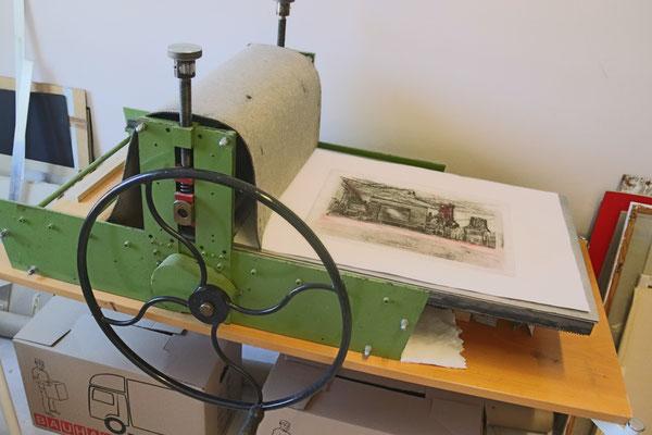 Druckpresse Carlshöhe Tiefdruckatelier