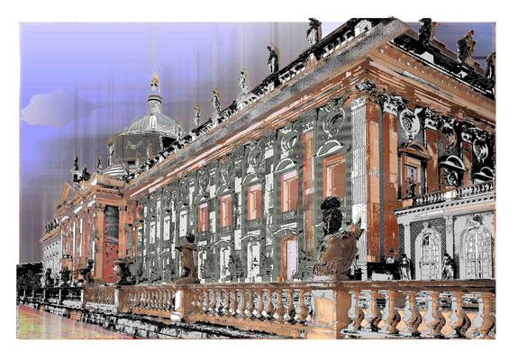 Das neue Palais Potsdam Radierung/ Mischtechnik