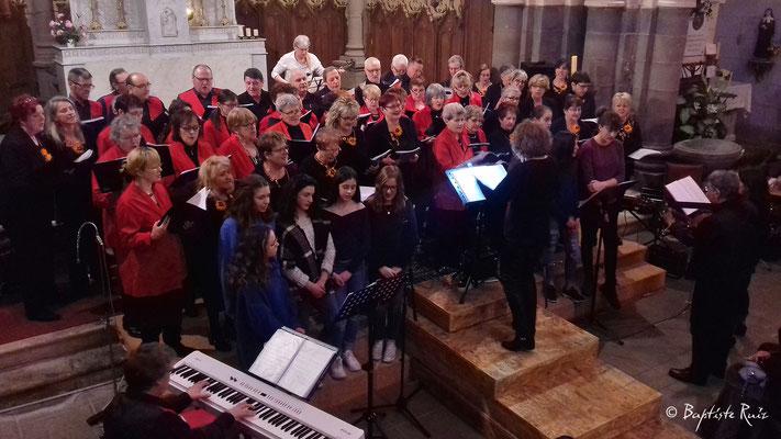 Chants communs aux trois chorales - Concert d'Olby - Puy de Dôme Eglise St Pierre le 23 mars 2018