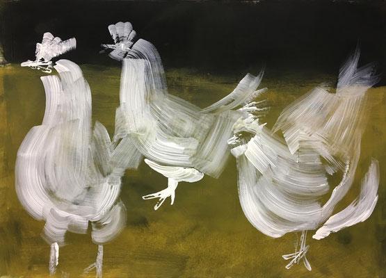 Die Hühner, Acryl, 65 x 45 cm