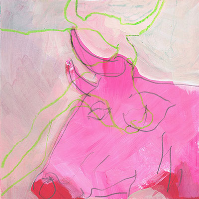 Kuh 1, Acryl, 20 x 20 cm