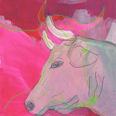 Kuh 2, Acryl, 20 x 20 cm