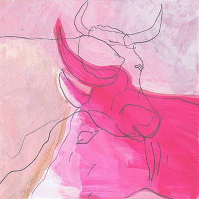 Kuh 3, Acryl, 20 x 20 cm