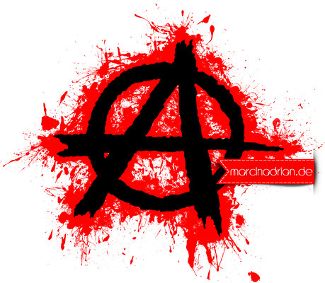 Anarchie / Anarchy in weiß, rote Spritzer by Marcin Adrian #photoshopcs6 #adobe #photoshop #Illustration