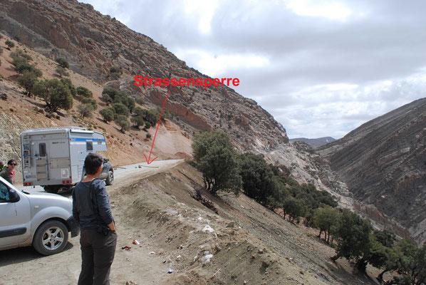 Marokkanische Strassensperre