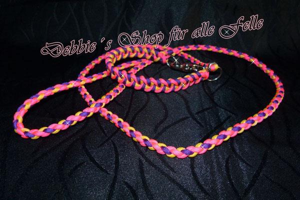Typ Twister mit Scherenkarabiner. Halsumfang 35 cm / Farben: neon pink / acid purple / lemonade * Leine: 4 Strang einfach rund geflochten 130 cm mit Handschlaufe = 40,- Euro