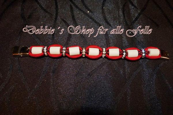 EM-Keramik Armband Typ Flair mit Strassrondell in imperial red / imperial red diamonds und Edelstahl Klemmverschluss