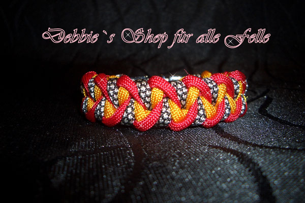 Armband Twister * imperial red / goldenrod / silver diamonds
