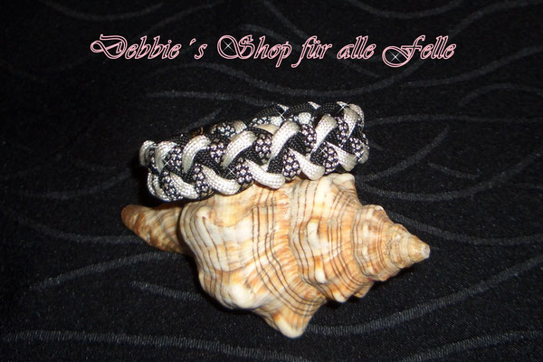 Armband Twister * black / white / silver diamonds