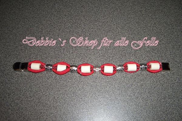 EM-Keramik Armband Typ Flair mit Pfötchenrondell in imperial red / imperial red diamonds und Edelstahl Klemmverschluss