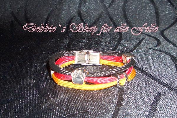 Schmuckarmband in Deutschlandfarben mit verschiedenen Beads und Edelstahl Klemmverschluss
