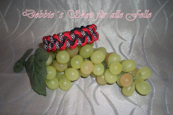 Armband Twister * black / imperial red / silver diamonds
