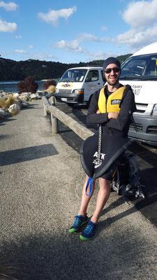 Mike ready für unseren Kayak & Hike Tag im Abel Tasman Nationalpark