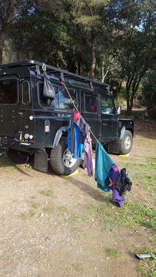 Einblick in unser Campingleben: Wäsche trocknen