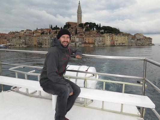 Erste Anlauf-Hafen war in der Stadt Rovinj