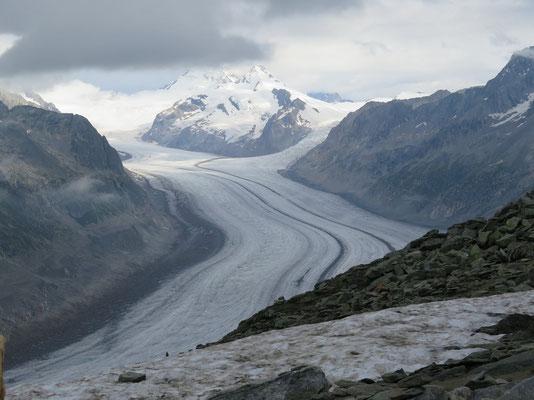 Blick vom Eggishorn auf den Aletschgletscher und Start der Wanderung