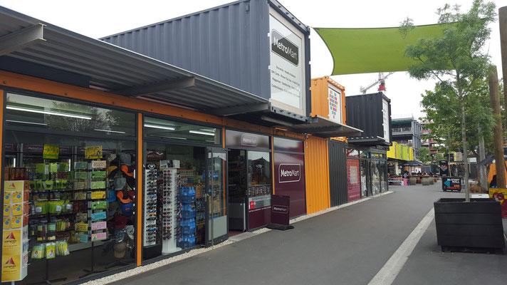 Re:Start Shopping Mall in Christchurch. Christchurch war unser letzter Stopp, dann ging unser Flug zurück nach Hause.