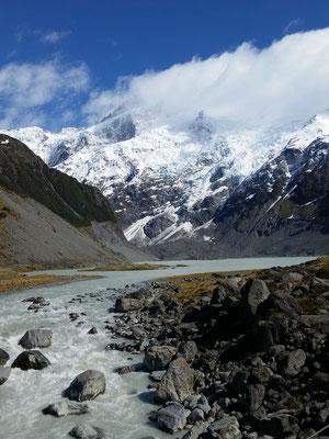 Hooker Valley Trail vom Mount Cook Village aus zum Hooker Gletscher