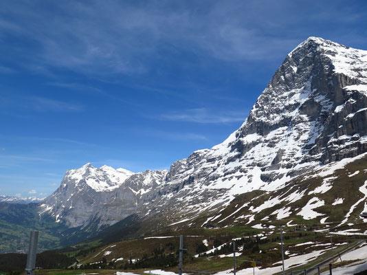 hinten links die grosse Scheidegg und im Vordergrund die Eigernordwand