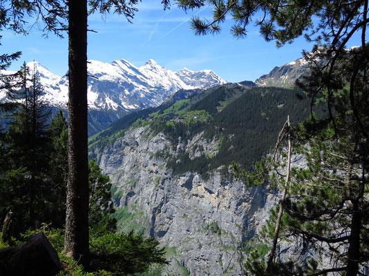 Sicht auf das Dorf Mürren & die Mürrenfluh (Viele Exit Points für Basejumper)