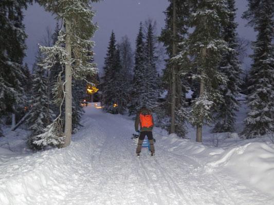 Erste Tretschlittenfahrt