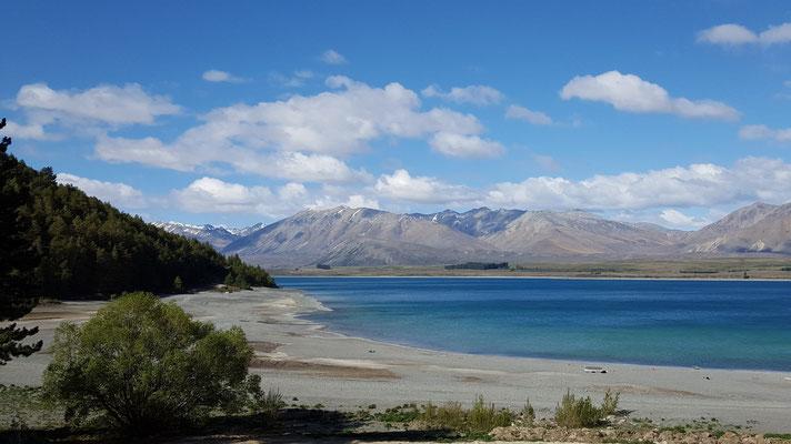 Aussicht auf den Lake Tekapo von unserem Campingplatz