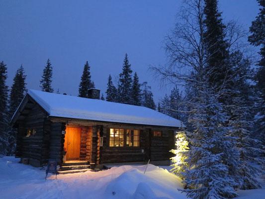 Blockhütte Aurora by Night